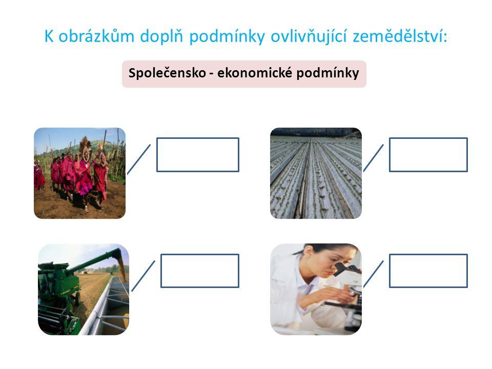 K obrázkům doplň podmínky ovlivňující zemědělství: Společensko - ekonomické podmínky