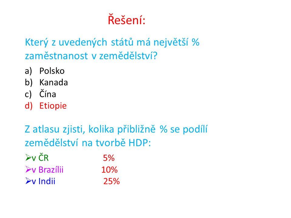 Který z uvedených států má největší % zaměstnanost v zemědělství? a)Polsko b)Kanada c)Čína d)Etiopie Z atlasu zjisti, kolika přibližně % se podílí zem