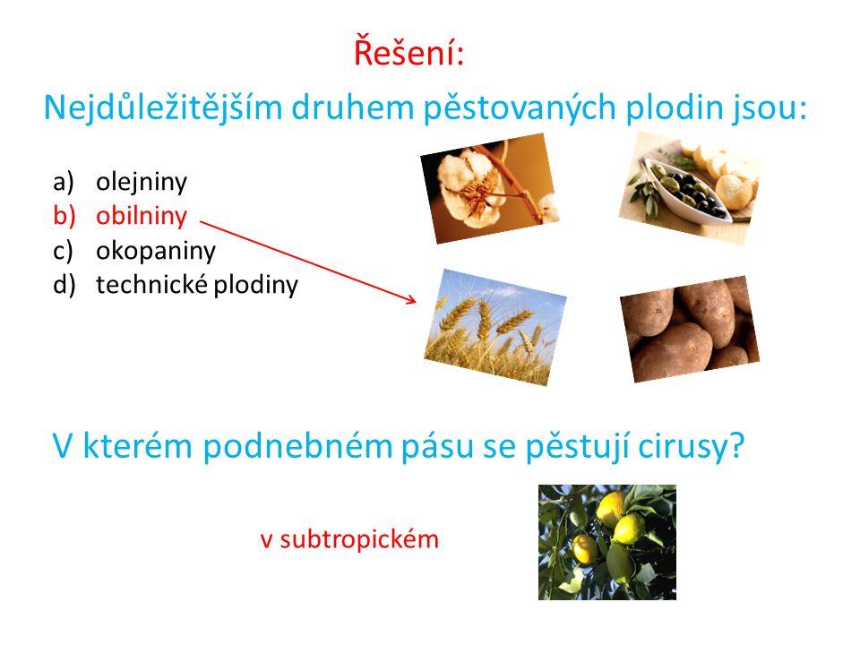 Nejdůležitějším druhem pěstovaných plodin jsou: a)olejniny b)obilniny c)okopaniny d)technické plodiny V kterém podnebném pásu se pěstují cirusy? Řešen
