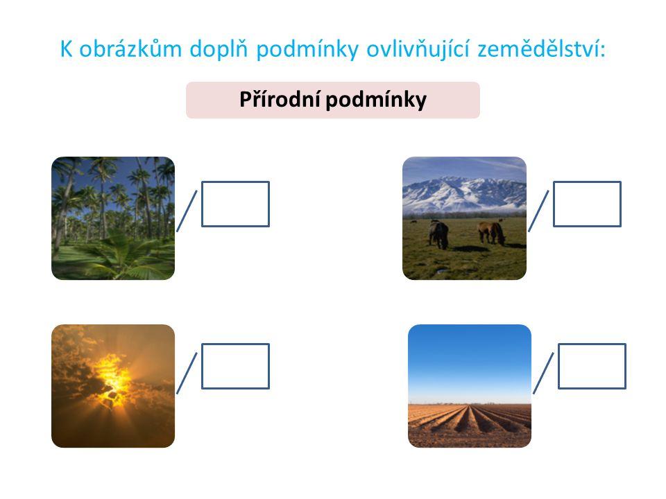 K obrázkům doplň podmínky ovlivňující zemědělství: Přírodní podmínky