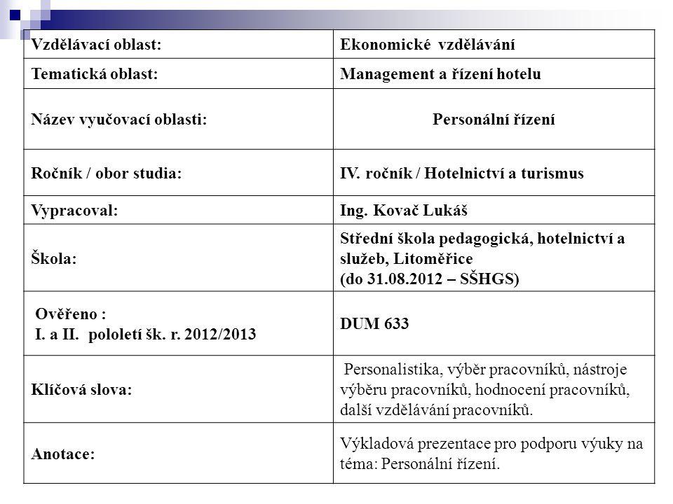 Vzdělávací oblast:Ekonomické vzdělávání Tematická oblast:Management a řízení hotelu Název vyučovací oblasti:Personální řízení Ročník / obor studia:IV.