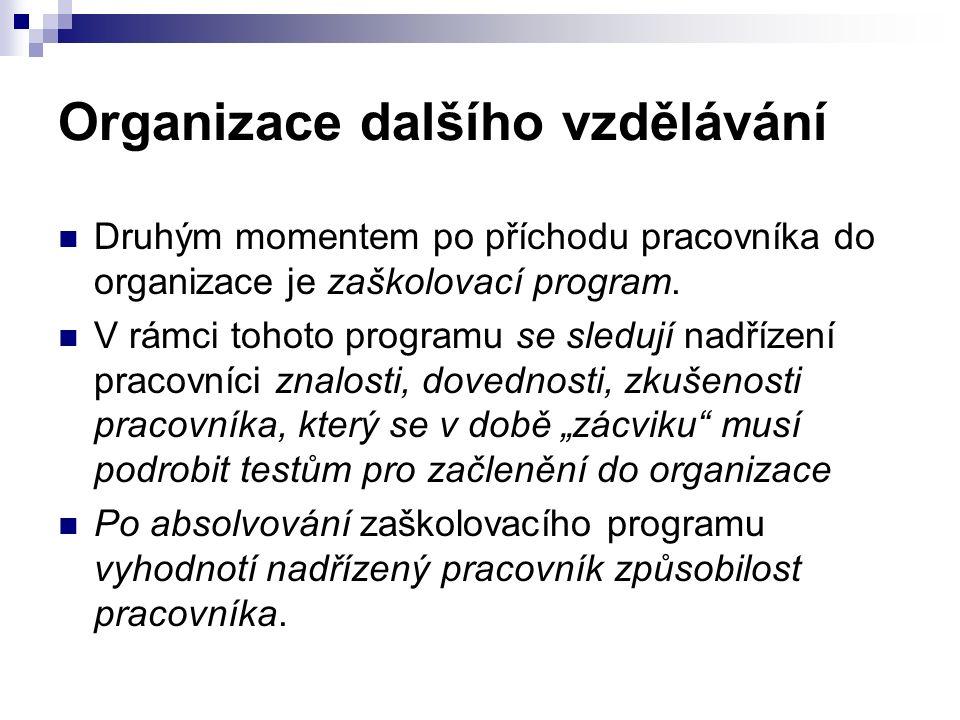 Organizace dalšího vzdělávání Druhým momentem po příchodu pracovníka do organizace je zaškolovací program.