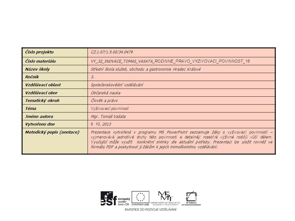 Číslo projektuCZ.1.07/1.5.00/34.0479 Číslo materiáluVY_32_INOVACE_TOMAS_VASATA_ RODINNE_PRAVO_VYZIVOVACI_POVINNOST_18 Název školyStřední škola služeb, obchodu a gastronomie Hradec Králové Ročník3.