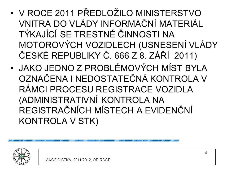 4 V ROCE 2011 PŘEDLOŽILO MINISTERSTVO VNITRA DO VLÁDY INFORMAČNÍ MATERIÁL TÝKAJÍCÍ SE TRESTNÉ ČINNOSTI NA MOTOROVÝCH VOZIDLECH (USNESENÍ VLÁDY ČESKÉ REPUBLIKY Č.
