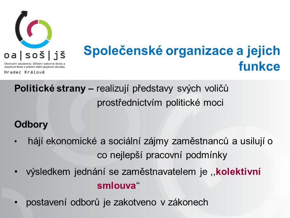 Společenské organizace a jejich funkce Politické strany – realizují představy svých voličů prostřednictvím politické moci Odbory hájí ekonomické a sociální zájmy zaměstnanců a usilují o co nejlepší pracovní podmínky výsledkem jednání se zaměstnavatelem je,,kolektivní smlouva'' postavení odborů je zakotveno v zákonech