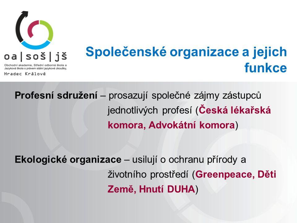Společenské organizace a jejich funkce Profesní sdružení – prosazují společné zájmy zástupců jednotlivých profesí (Česká lékařská komora, Advokátní komora) Ekologické organizace – usilují o ochranu přírody a životního prostředí (Greenpeace, Děti Země, Hnutí DUHA)