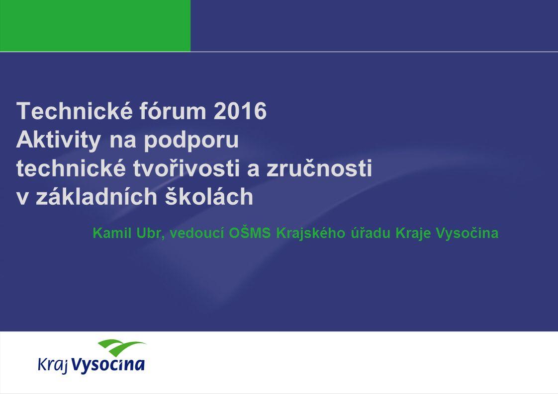 PREZENTUJÍCÍ Technické fórum 2016 Aktivity na podporu technické tvořivosti a zručnosti v základních školách Kamil Ubr, vedoucí OŠMS Krajského úřadu Kraje Vysočina