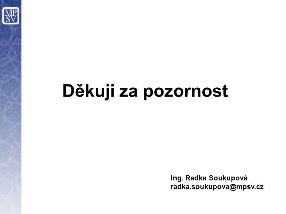 Děkuji za pozornost Ing. Radka Soukupová radka.soukupova@mpsv.cz