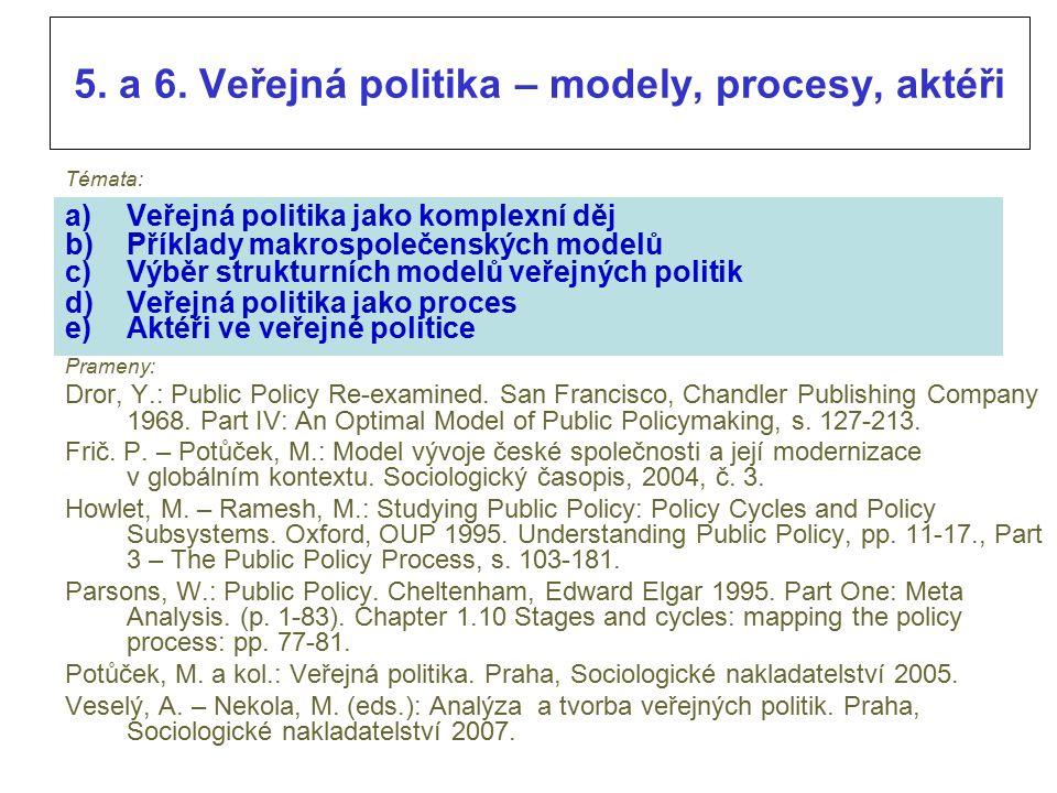 Veřejná politika – modely, procesy, aktéři d) C Veřejná politika jako proces  Politické sítě tvorby a realizace veřejných politik (policy networks) představují prostor, v němž probíhají interakce mezi volně spjatými skupinami aktérů.