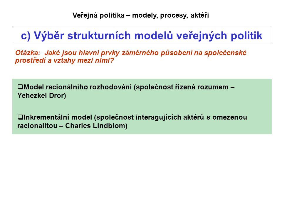 Veřejná politika – modely, procesy, aktéři c) Výběr strukturních modelů veřejných politik Otázka: Jaké jsou hlavní prvky záměrného působení na společenské prostředí a vztahy mezi nimi.