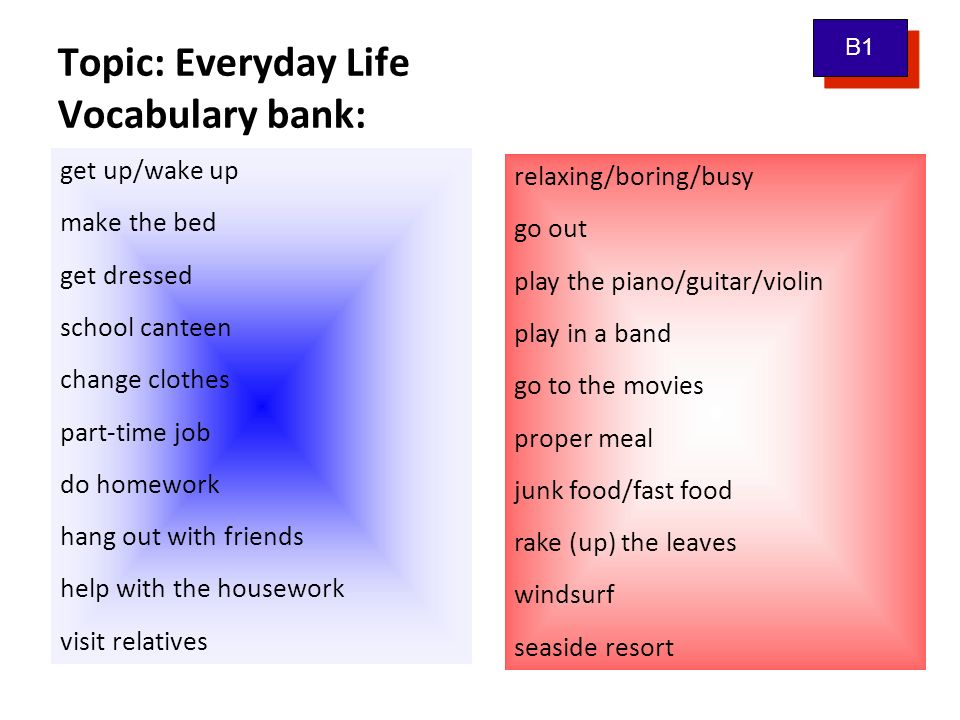 Topic: Everyday Life Vocabulary bank: get up/wake up make the bed get dressed school canteen change clothes part-time job do homework hang out with friends help with the housework visit relatives B1 relaxing/boring/busy go out play the piano/guitar/violin play in a band go to the movies proper meal junk food/fast food rake (up) the leaves windsurf seaside resort