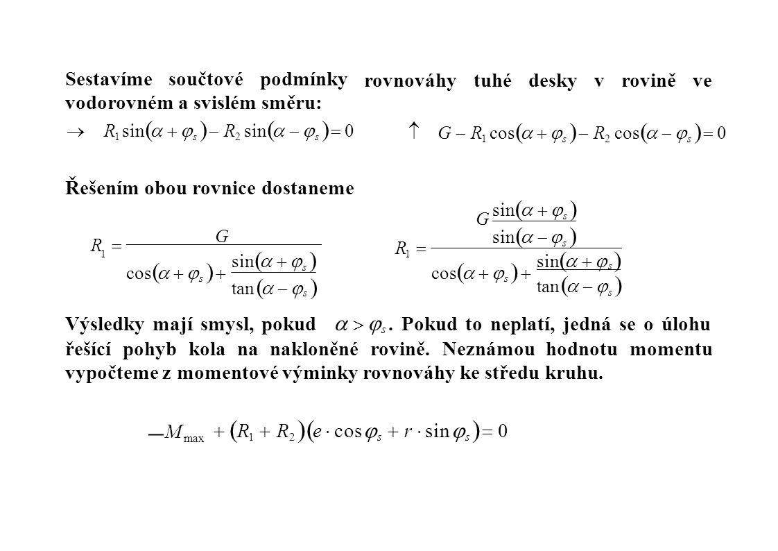 Sestavímesoučtovépodmínky vodorovném a svislém směru:  R 1 sin     s   R 2 sin     s   0 rovnováhytuhédeskyvroviněve  G  R 1 cos   