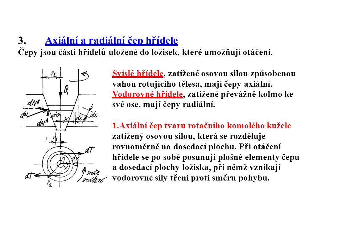 3.Axiální a radiální čep hřídele Čepy jsou části hřídelů uložené do ložisek, které umožňují otáčení. Svislé hřídele, zatížené osovou silou způsobenou
