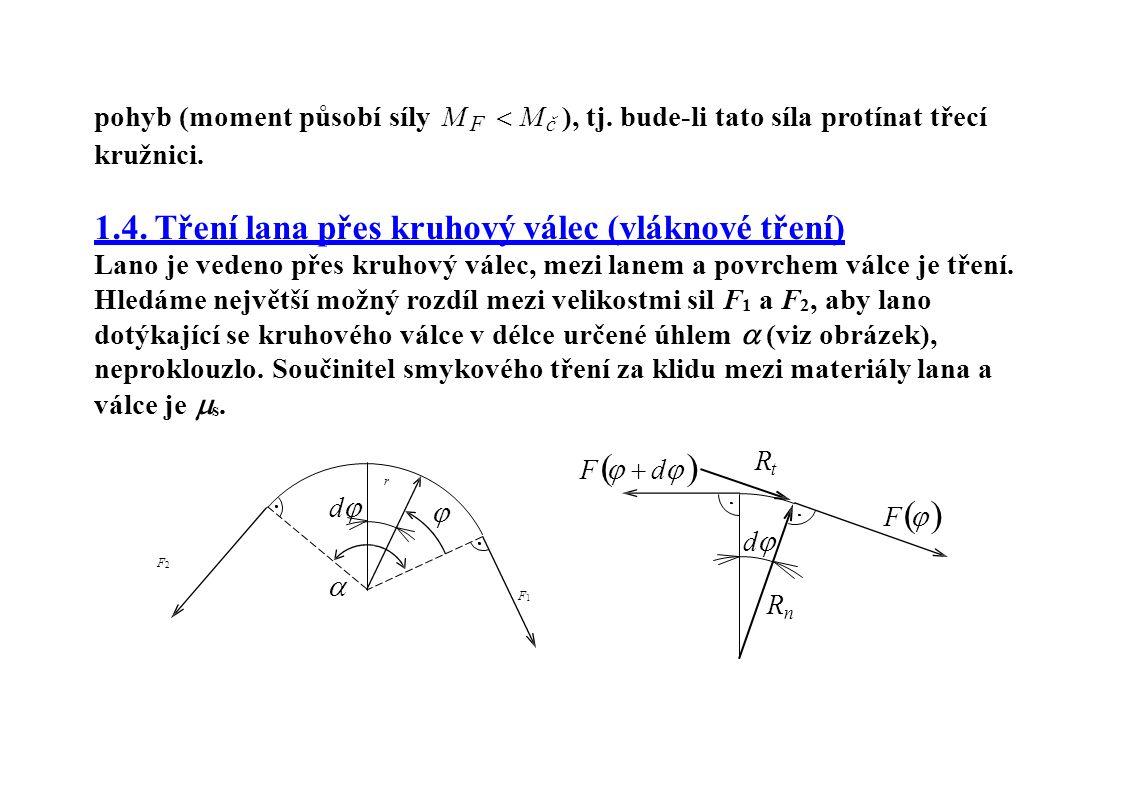pohyb (moment působí síly M F  M č ), tj. bude-li tato síla protínat třecí kružnici.