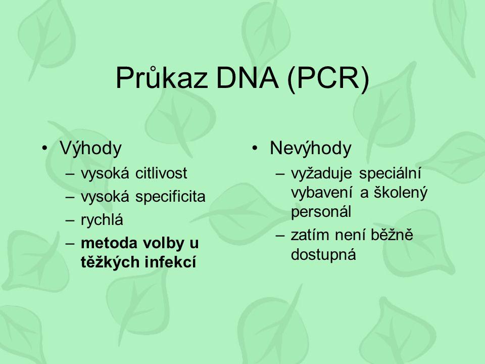 Průkaz DNA (PCR) Výhody –vysoká citlivost –vysoká specificita –rychlá –metoda volby u těžkých infekcí Nevýhody –vyžaduje speciální vybavení a školený personál –zatím není běžně dostupná
