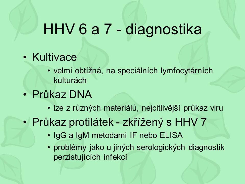 HHV 6 a 7 - diagnostika Kultivace velmi obtížná, na speciálních lymfocytárních kulturách Průkaz DNA lze z různých materiálů, nejcitlivější průkaz viru Průkaz protilátek - zkřížený s HHV 7 IgG a IgM metodami IF nebo ELISA problémy jako u jiných serologických diagnostik perzistujících infekcí