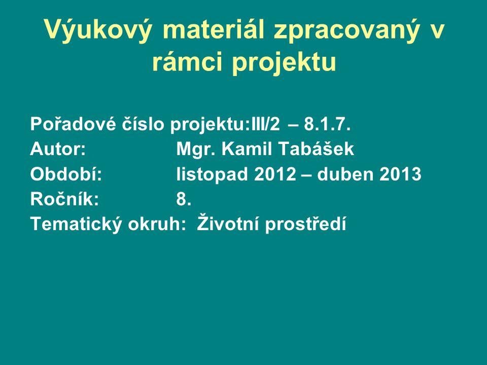 Pořadové číslo projektu:III/2 – 8.1.7. Autor:Mgr.