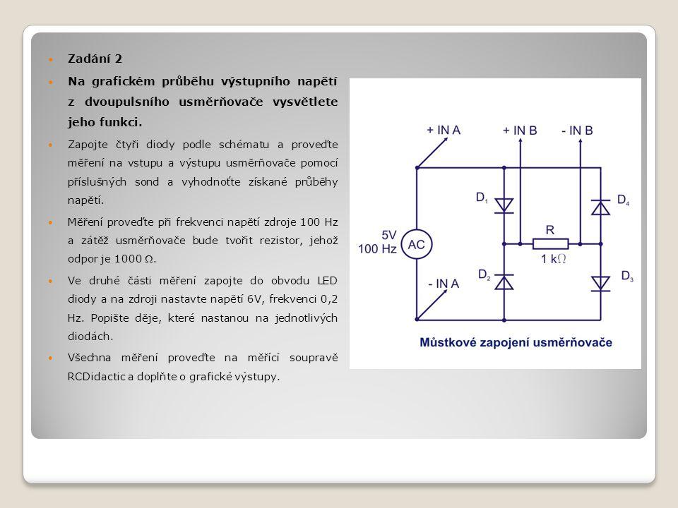 Měření na RCDidactic Uvedena měřící souprava nám v podstatě nahrazuje osciloskop, který umožňuje zobrazovat průběhy napětí, takže je možné pozorovat změny průběhu výstupního napětí jednocestného usměrňovače při použití filtru a bez filtru, kde je patrný jeho příznivější průběh při použití kondenzátoru větší kapacity.