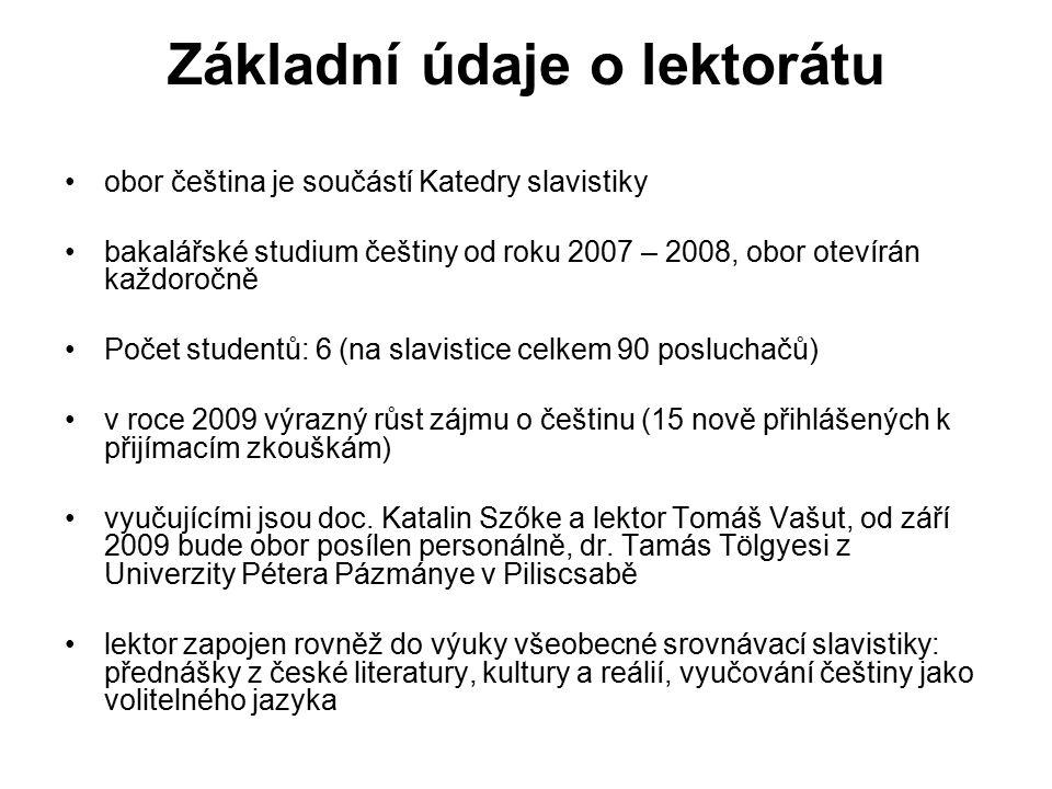 Základní údaje o lektorátu obor čeština je součástí Katedry slavistiky bakalářské studium češtiny od roku 2007 – 2008, obor otevírán každoročně Počet