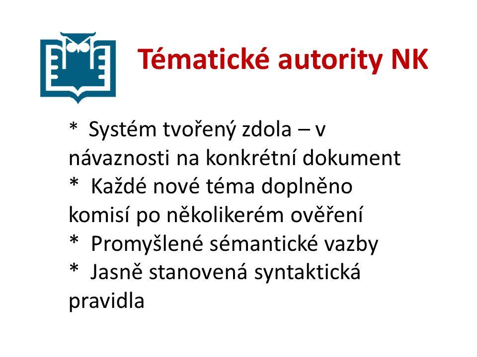 Tématické autority NK * Systém tvořený zdola – v návaznosti na konkrétní dokument * Každé nové téma doplněno komisí po několikerém ověření * Promyšlené sémantické vazby * Jasně stanovená syntaktická pravidla