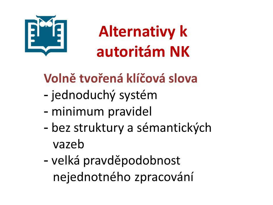 Alternativy k autoritám NK Volně tvořená klíčová slova - jednoduchý systém - minimum pravidel - bez struktury a sémantických vazeb - velká pravděpodobnost nejednotného zpracování