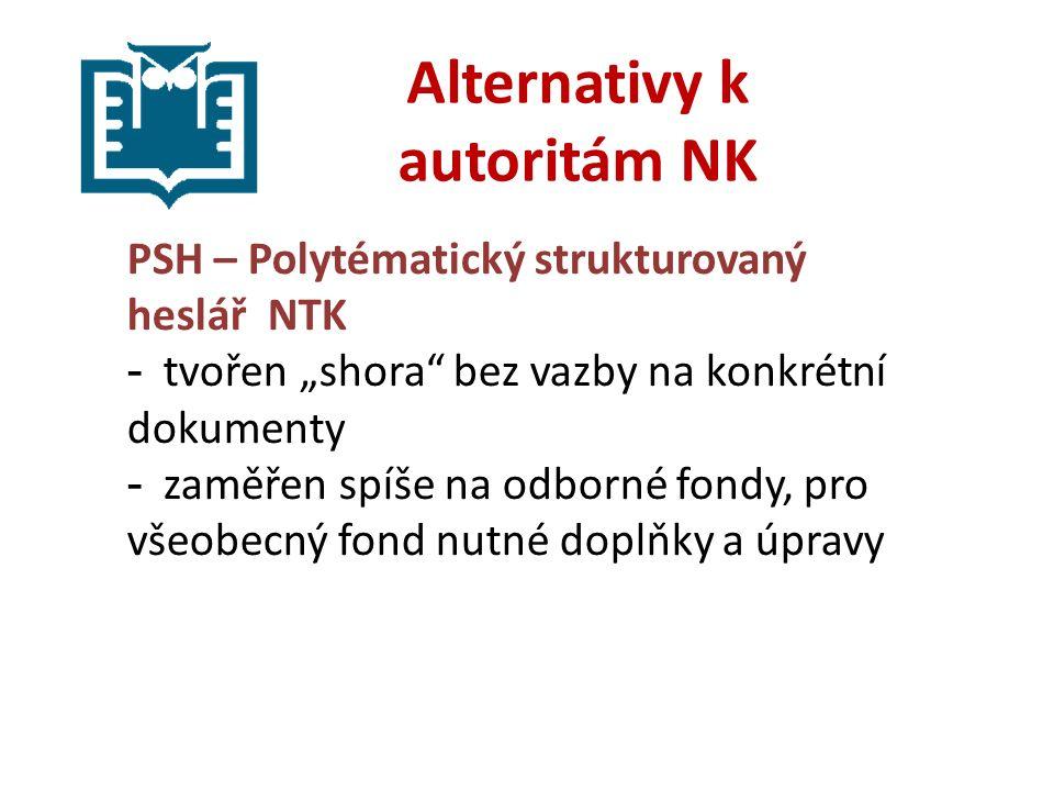 """Alternativy k autoritám NK PSH – Polytématický strukturovaný heslář NTK - tvořen """"shora bez vazby na konkrétní dokumenty - zaměřen spíše na odborné fondy, pro všeobecný fond nutné doplňky a úpravy"""
