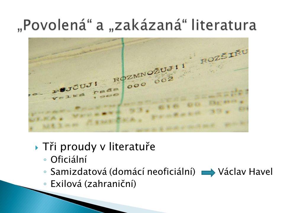  Tři proudy v literatuře ◦ Oficiální ◦ Samizdatová (domácí neoficiální) Václav Havel ◦ Exilová (zahraniční)