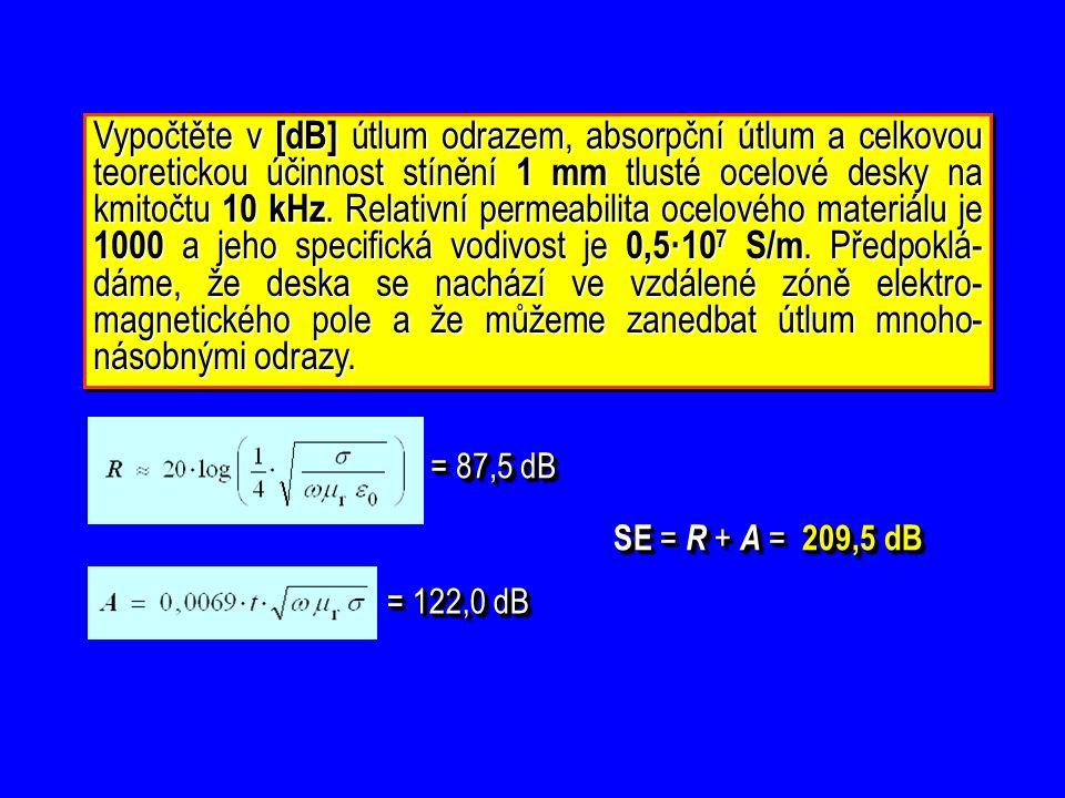 Určete minimální potřebné rozměry částečně bezodrazové absorpční haly, v níž má být realizováno měření vyzařovaného rušení s měřicí vzdáleností D = 10 m pro kmitočty od 100 MHz výše.