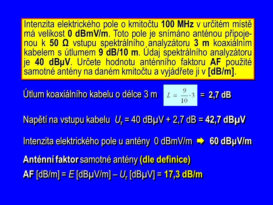 Intenzita elektrického pole o kmitočtu 100 MHz v určitém místě má velikost 0 dBmV/m.