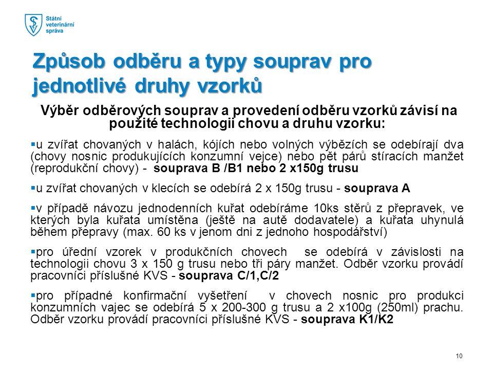 Výběr odběrových souprav a provedení odběru vzorků závisí na použité technologii chovu a druhu vzorku:  u zvířat chovaných v halách, kójích nebo volných výbězích se odebírají dva (chovy nosnic produkujících konzumní vejce) nebo pět párů stíracích manžet (reprodukční chovy) - souprava B /B1 nebo 2 x150g trusu  u zvířat chovaných v klecích se odebírá 2 x 150g trusu - souprava A  v případě návozu jednodenních kuřat odebíráme 10ks stěrů z přepravek, ve kterých byla kuřata umístěna (ještě na autě dodavatele) a kuřata uhynulá během přepravy (max.