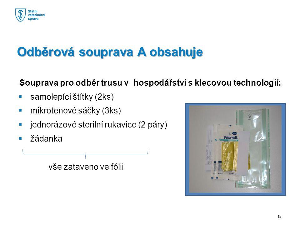 Souprava pro odběr trusu v hospodářství s klecovou technologií:  samolepící štítky (2ks)  mikrotenové sáčky (3ks)  jednorázové sterilní rukavice (2 páry)  žádanka vše zataveno ve fólii Odběrová souprava A obsahuje 12