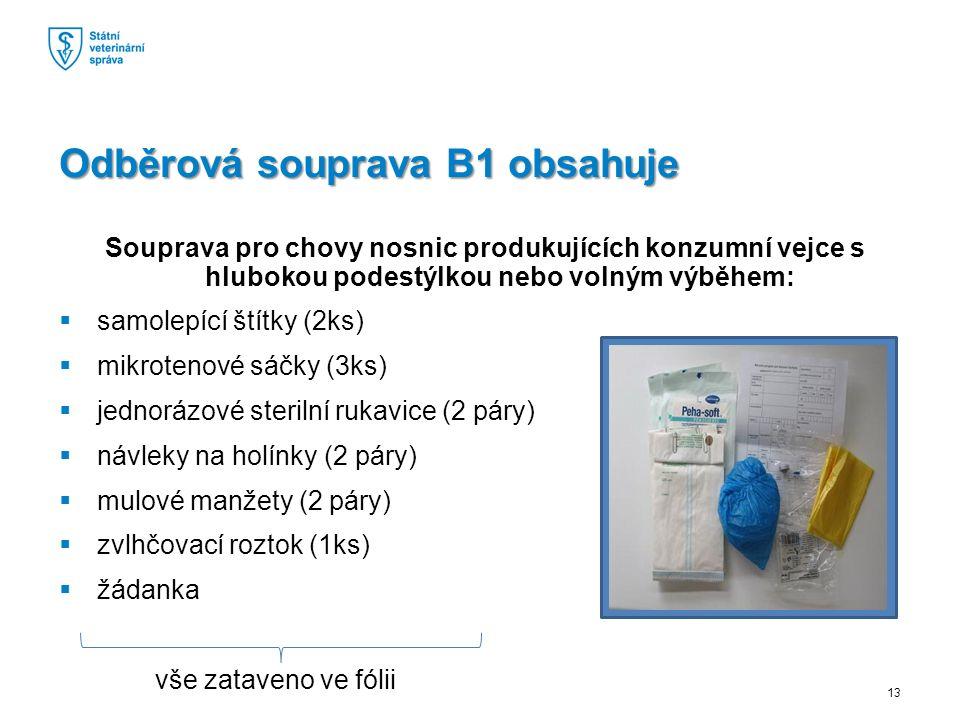 Souprava pro chovy nosnic produkujících konzumní vejce s hlubokou podestýlkou nebo volným výběhem:  samolepící štítky (2ks)  mikrotenové sáčky (3ks)  jednorázové sterilní rukavice (2 páry)  návleky na holínky (2 páry)  mulové manžety (2 páry)  zvlhčovací roztok (1ks)  žádanka vše zataveno ve fólii Odběrová souprava B1 obsahuje 13