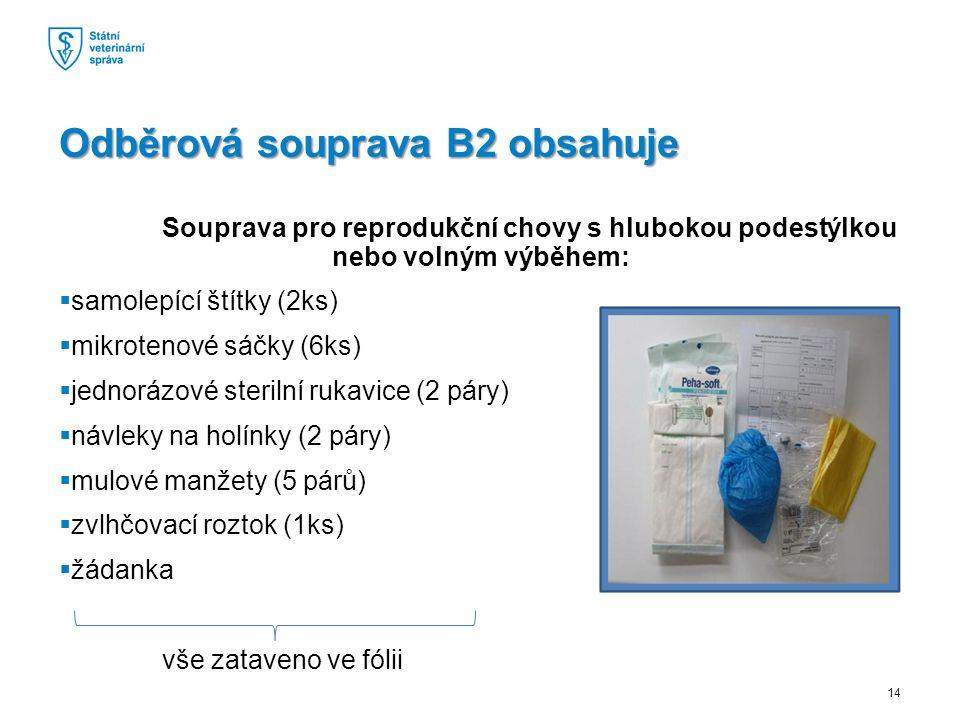 Souprava pro reprodukční chovy s hlubokou podestýlkou nebo volným výběhem:  samolepící štítky (2ks)  mikrotenové sáčky (6ks)  jednorázové sterilní rukavice (2 páry)  návleky na holínky (2 páry)  mulové manžety (5 párů)  zvlhčovací roztok (1ks)  žádanka vše zataveno ve fólii Odběrová souprava B2 obsahuje 14