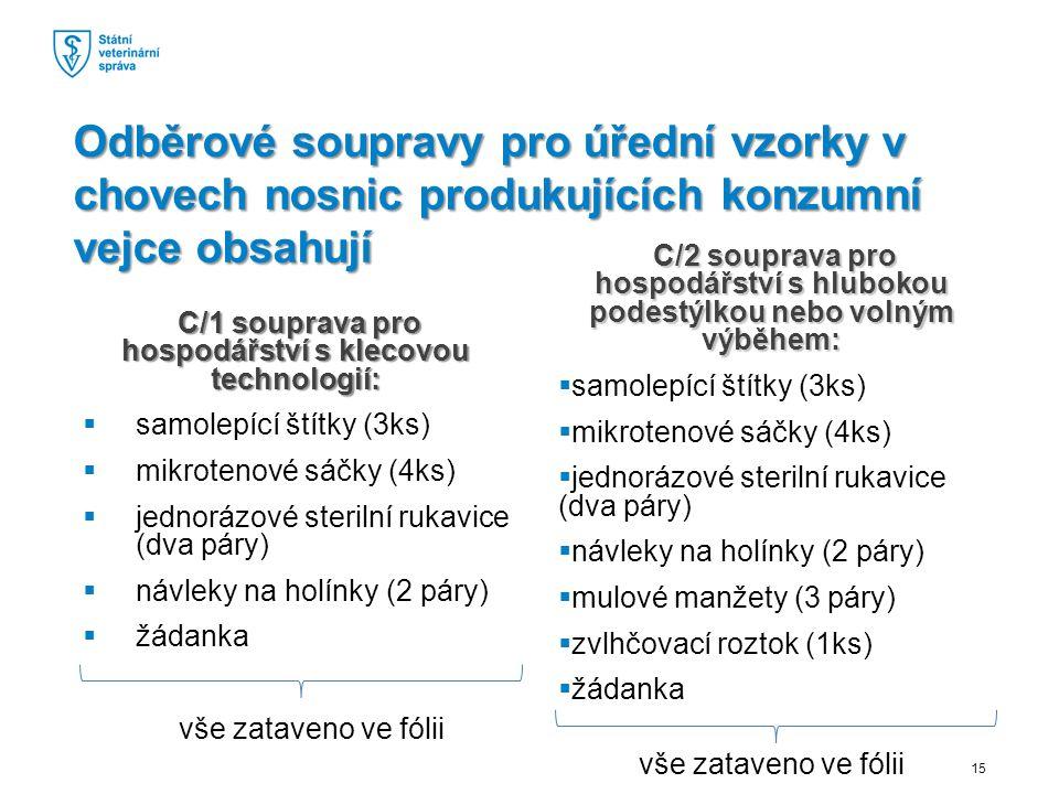 C/1 souprava pro hospodářství s klecovou technologií: C/1 souprava pro hospodářství s klecovou technologií:  samolepící štítky (3ks)  mikrotenové sáčky (4ks)  jednorázové sterilní rukavice (dva páry)  návleky na holínky (2 páry)  žádanka vše zataveno ve fólii C/2 souprava pro hospodářství s hlubokou podestýlkou nebo volným výběhem: C/2 souprava pro hospodářství s hlubokou podestýlkou nebo volným výběhem:  samolepící štítky (3ks)  mikrotenové sáčky (4ks)  jednorázové sterilní rukavice (dva páry)  návleky na holínky (2 páry)  mulové manžety (3 páry)  zvlhčovací roztok (1ks)  žádanka vše zataveno ve fólii Odběrové soupravy pro úřední vzorky v chovech nosnic produkujících konzumní vejce obsahují 15
