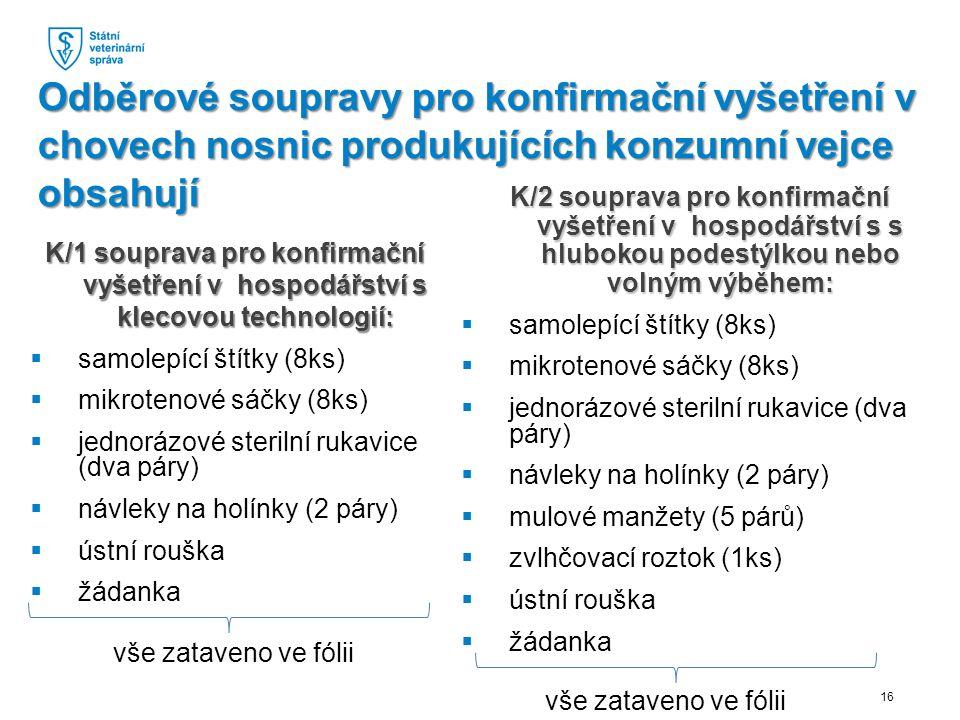 K/1 souprava pro konfirmační vyšetření v hospodářství s klecovou technologií: K/1 souprava pro konfirmační vyšetření v hospodářství s klecovou technologií:  samolepící štítky (8ks)  mikrotenové sáčky (8ks)  jednorázové sterilní rukavice (dva páry)  návleky na holínky (2 páry)  ústní rouška  žádanka K/2 souprava pro konfirmační vyšetření v hospodářství s s hlubokou podestýlkou nebo volným výběhem:  samolepící štítky (8ks)  mikrotenové sáčky (8ks)  jednorázové sterilní rukavice (dva páry)  návleky na holínky (2 páry)  mulové manžety (5 párů)  zvlhčovací roztok (1ks)  ústní rouška  žádanka Odběrové soupravy pro konfirmační vyšetření v chovech nosnic produkujících konzumní vejce obsahují 16 vše zataveno ve fólii