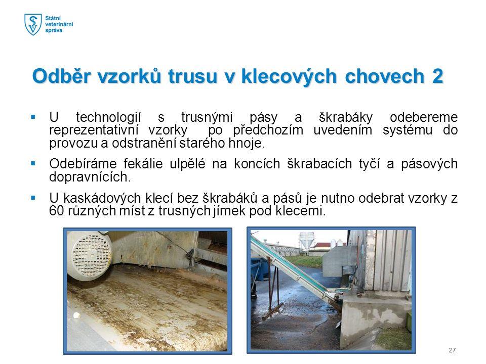  U technologií s trusnými pásy a škrabáky odebereme reprezentativní vzorky po předchozím uvedením systému do provozu a odstranění starého hnoje.