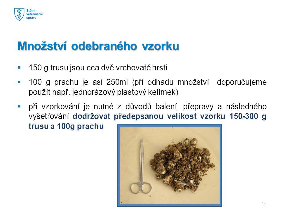  150 g trusu jsou cca dvě vrchovaté hrsti  100 g prachu je asi 250ml (při odhadu množství doporučujeme použít např.