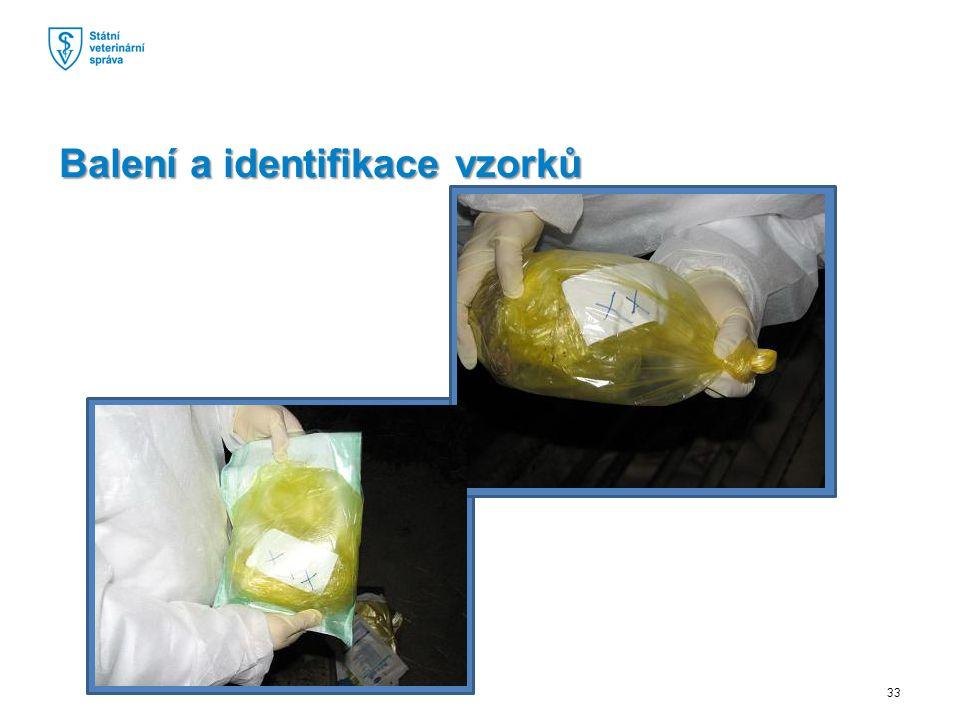 Balení a identifikace vzorků 33
