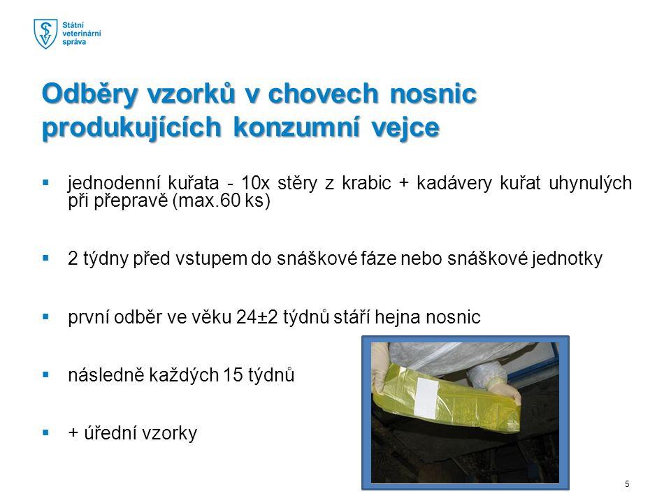  jednodenní kuřata - 10x stěry z krabic + kadávery kuřat uhynulých při přepravě (max.60 ks)  2 týdny před vstupem do snáškové fáze nebo snáškové jednotky  první odběr ve věku 24±2 týdnů stáří hejna nosnic  následně každých 15 týdnů  + úřední vzorky Odběry vzorků v chovech nosnic produkujících konzumní vejce 5