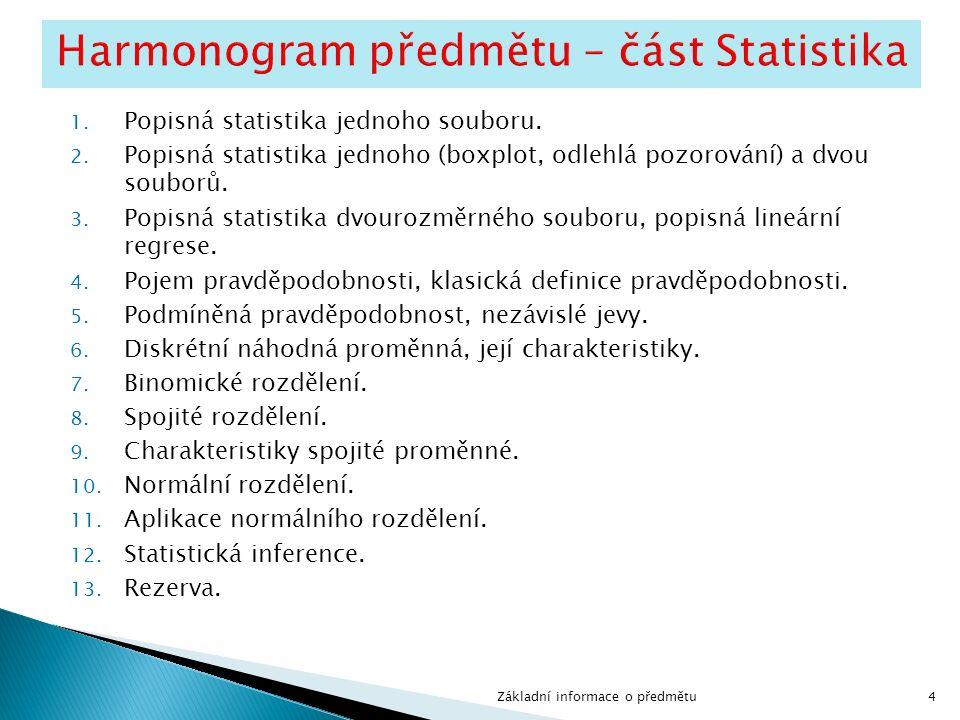 4 1. Popisná statistika jednoho souboru. 2.
