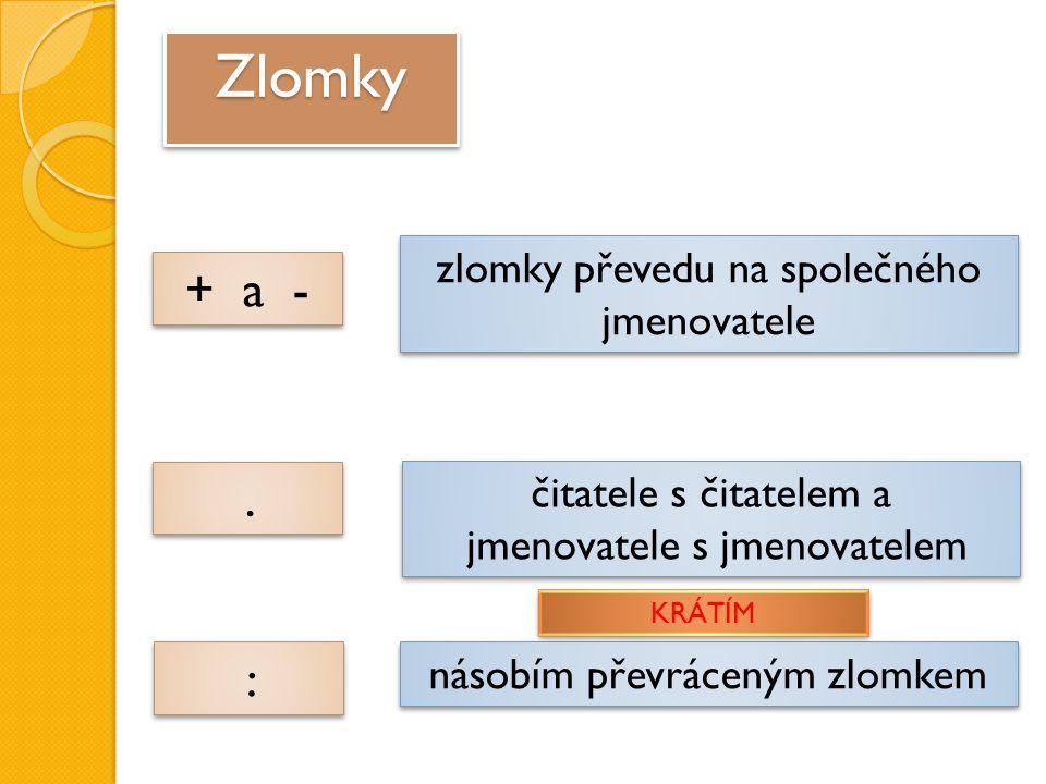 ZlomkyZlomky zlomky převedu na společného jmenovatele + a - čitatele s čitatelem a jmenovatele s jmenovatelem..