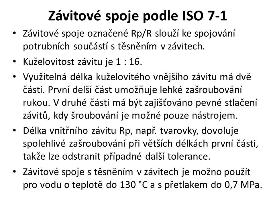 Závitové spoje podle ISO 7-1 Závitové spoje označené Rp/R slouží ke spojování potrubních součástí s těsněním v závitech. Kuželovitost závitu je 1 : 16