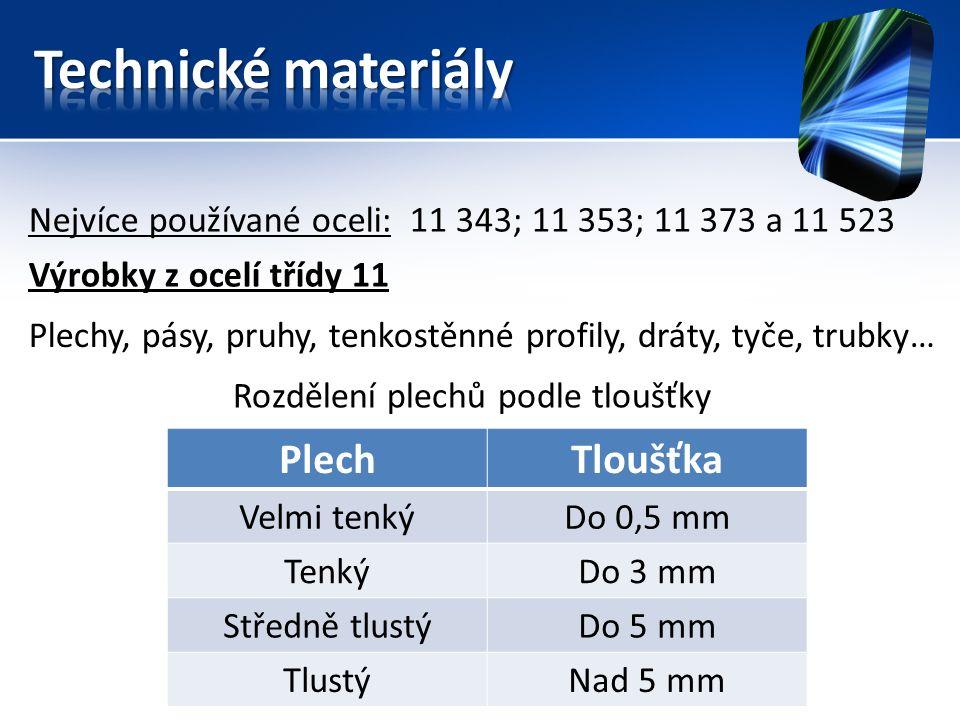 Nejvíce používané oceli: 11 343; 11 353; 11 373 a 11 523 Výrobky z ocelí třídy 11 Plechy, pásy, pruhy, tenkostěnné profily, dráty, tyče, trubky… Rozdělení plechů podle tloušťky PlechTloušťka Velmi tenkýDo 0,5 mm TenkýDo 3 mm Středně tlustýDo 5 mm TlustýNad 5 mm