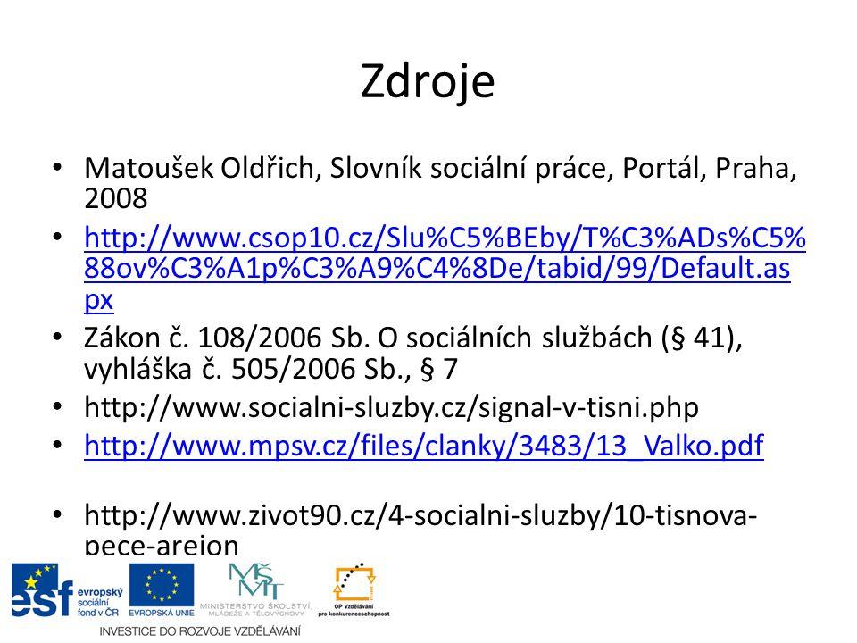 Zdroje Matoušek Oldřich, Slovník sociální práce, Portál, Praha, 2008 http://www.csop10.cz/Slu%C5%BEby/T%C3%ADs%C5% 88ov%C3%A1p%C3%A9%C4%8De/tabid/99/D