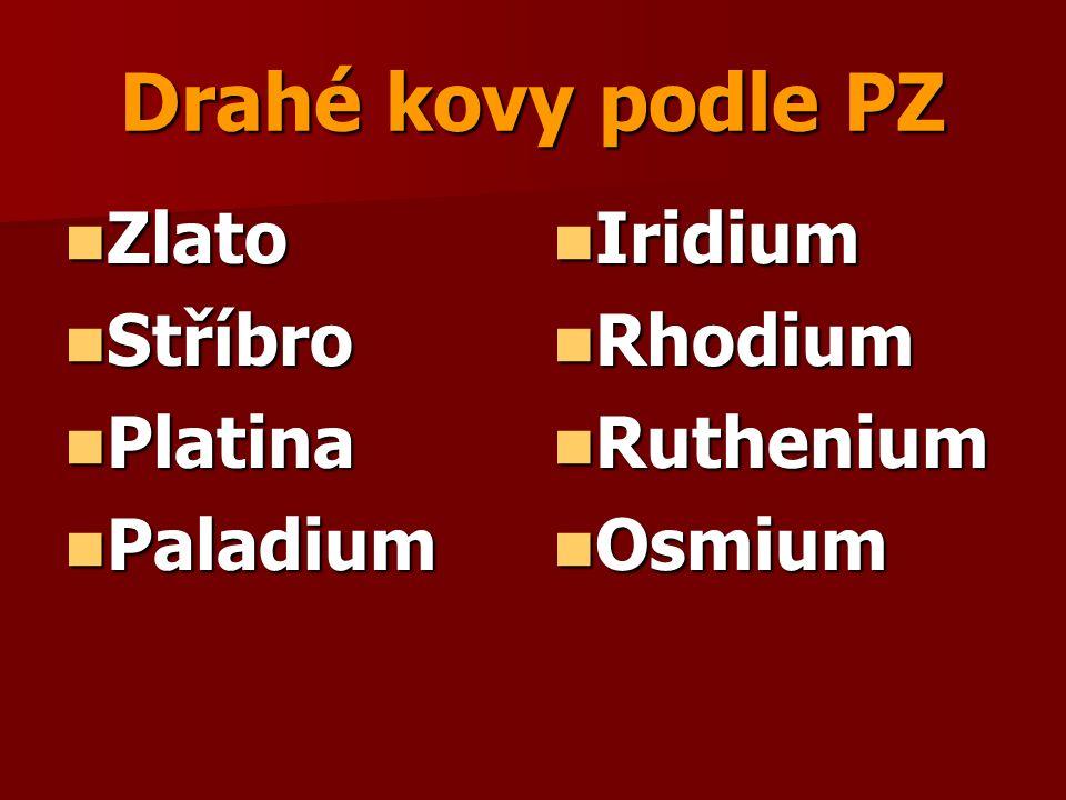 Drahé kovy podle PZ Zlato Zlato Stříbro Stříbro Platina Platina Paladium Paladium Iridium Iridium Rhodium Rhodium Ruthenium Ruthenium Osmium Osmium
