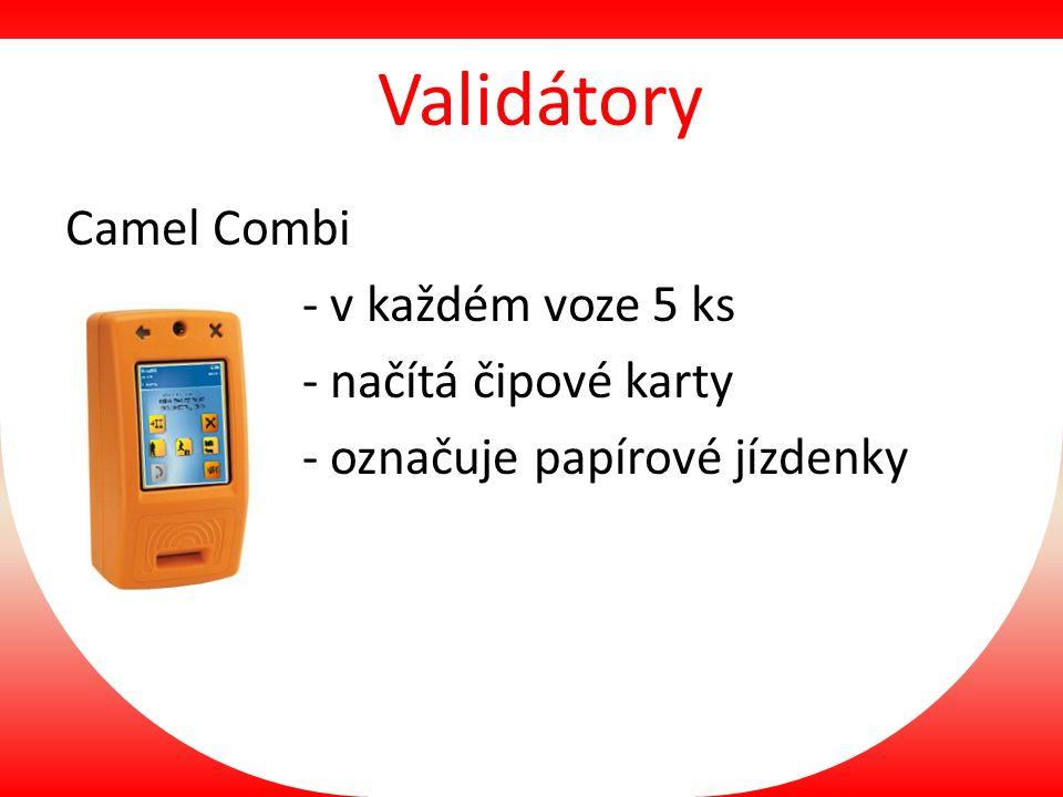 Validátory Camel Combi - v každém voze 5 ks - načítá čipové karty - označuje papírové jízdenky