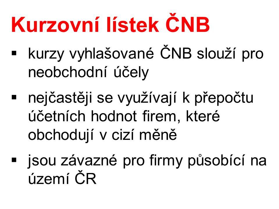 Kurzovní lístek ČNB  kurzy vyhlašované ČNB slouží pro neobchodní účely  nejčastěji se využívají k přepočtu účetních hodnot firem, které obchodují v cizí měně  jsou závazné pro firmy působící na území ČR