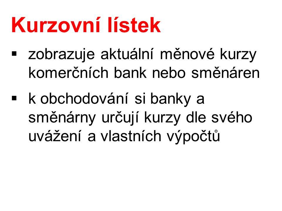  zobrazuje aktuální měnové kurzy komerčních bank nebo směnáren  k obchodování si banky a směnárny určují kurzy dle svého uvážení a vlastních výpočtů