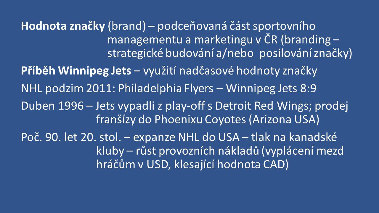 Hodnota značky (brand) – podceňovaná část sportovního managementu a marketingu v ČR (branding – strategické budování a/nebo posilování značky) Příběh Winnipeg Jets – využití nadčasové hodnoty značky NHL podzim 2011: Philadelphia Flyers – Winnipeg Jets 8:9 Duben 1996 – Jets vypadli z play-off s Detroit Red Wings; prodej franšízy do Phoenixu Coyotes (Arizona USA) Poč.