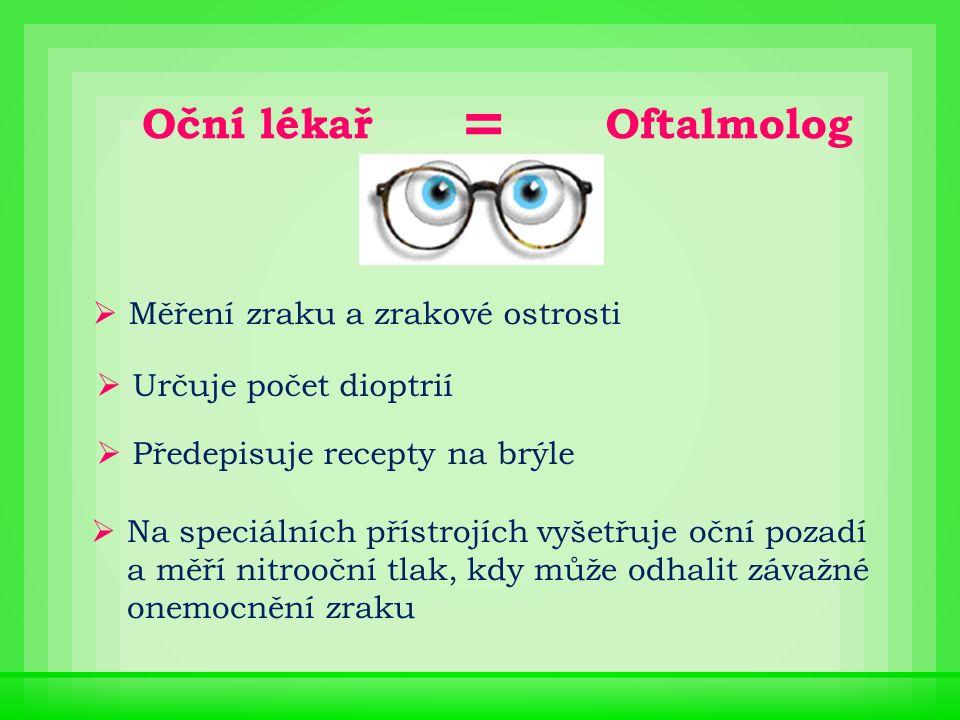 Oční lékař  Měření zraku a zrakové ostrosti  Určuje počet dioptrií  Předepisuje recepty na brýle  Na speciálních přístrojích vyšetřuje oční pozadí a měří nitrooční tlak, kdy může odhalit závažné onemocnění zraku Oftalmolog =